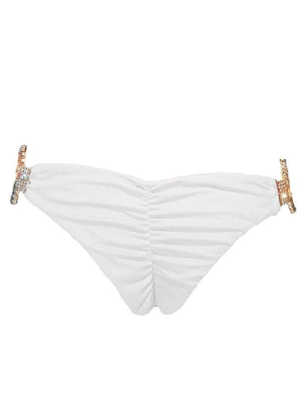Gold Luxury White Skimpy Bikini Bottom With Silver Crystals - My Bikini Flex