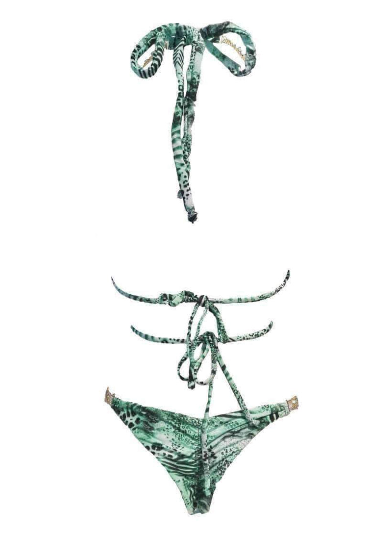 Green Luxury Swimsuit Open Halter Top Tango Bikini Bottom - My Bikini Flex