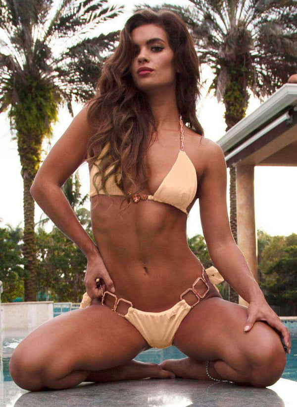 Khaki Luxury Swimsuit Halter Top & Tie Side Bikini Bottom - My Bikini Flex