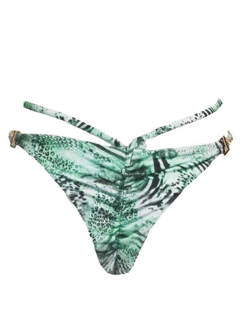 Luxury Green Tiger Strappy Tango Bikini Bottom - My Bikini Flex