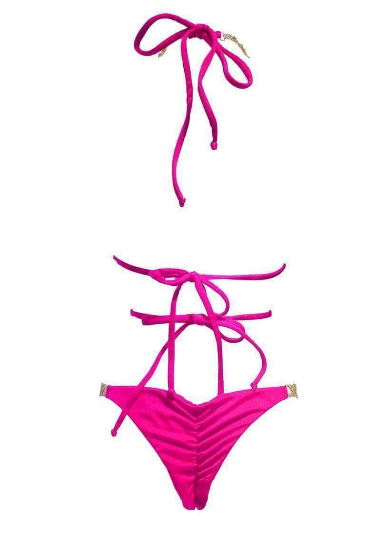 Luxury Neon Pink Swimsuit Open Halter Top Tango Bikini Bottom - My Bikini Flex