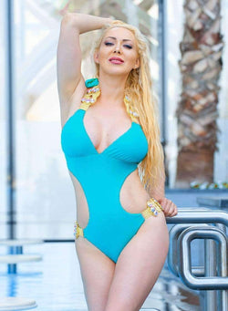 Luxury One Piece Swimsuit Turquoise Bikini With Glass Crystals - My Bikini Flex