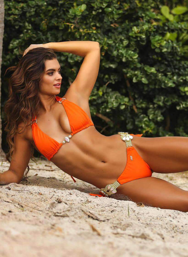Neon Orange Luxury Swimsuit Halter Top Tie Side Bikini Bottom - My Bikini Flex
