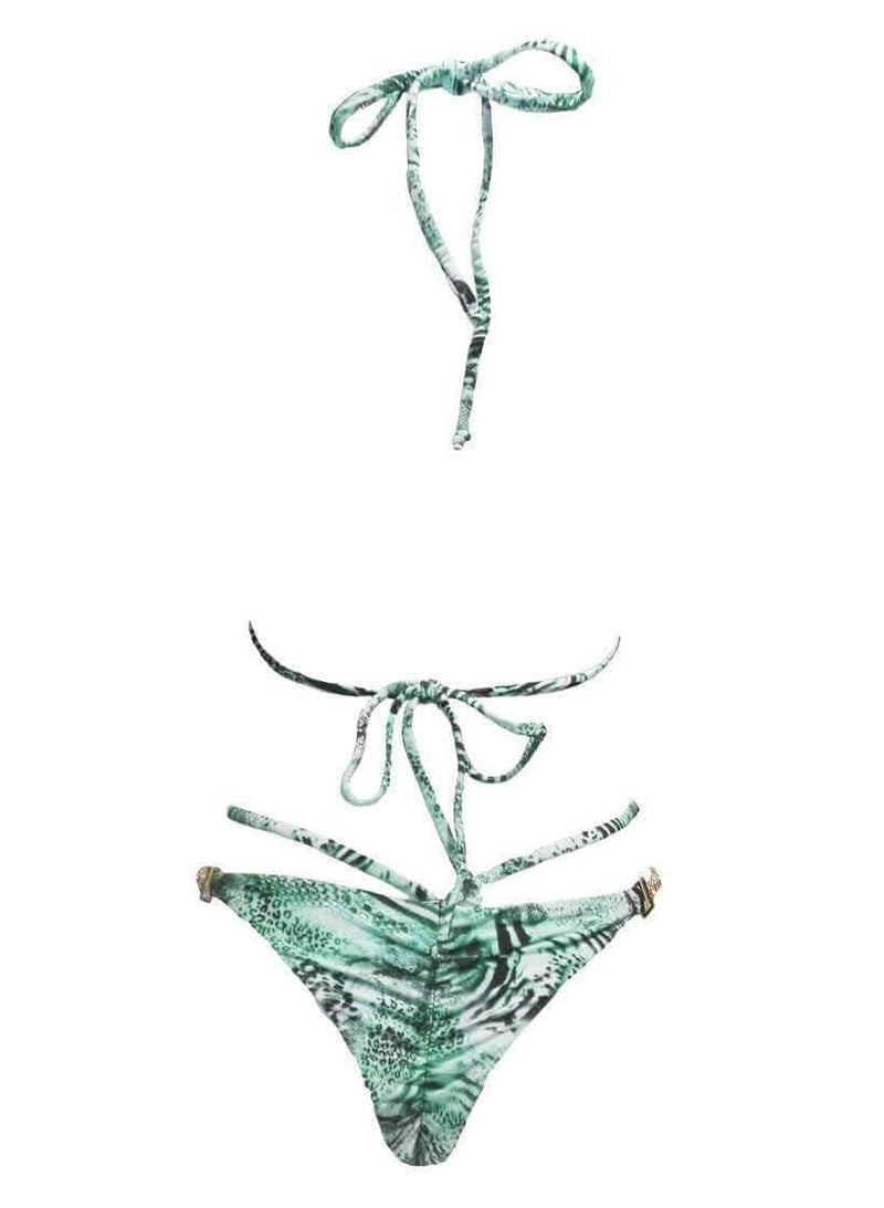 Ocelot Tiger Green Luxury Swimsuit Halter Tango Bikini Bottom - My Bikini Flex