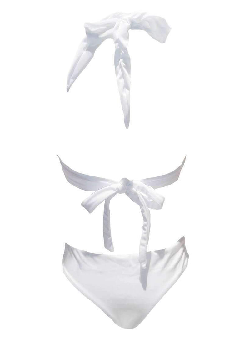 White Luxury One Piece Swimsuit Halter Rhinestone Bikini - My Bikini Flex
