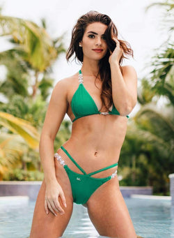 Green Luxury Swimsuit Triangle Halter Strap Open Bikini Bottom - My Bikini Flex