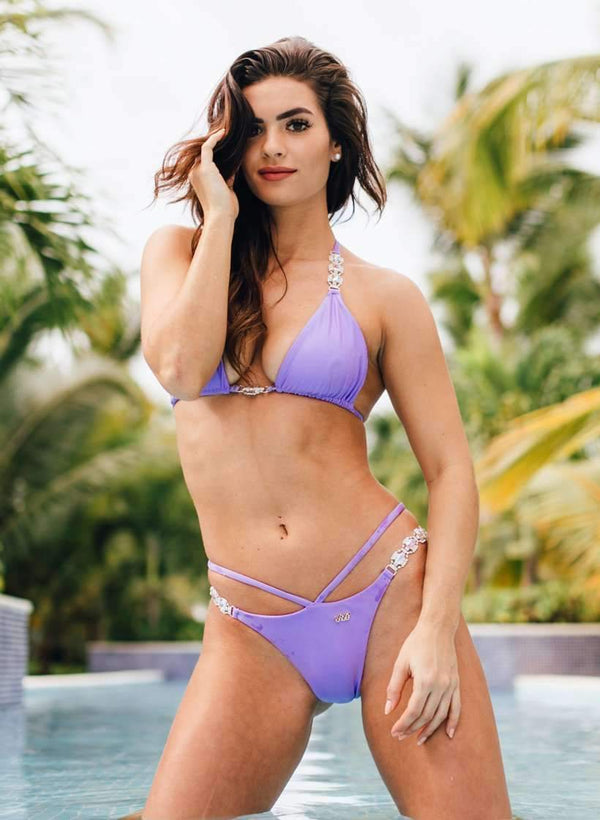 Purple Luxury Swimsuit Halter Top & Strap Open Bikini Bottom - My Bikini Flex