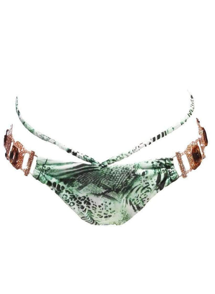Waterproof Glass Crystal Luxury Green Tiger Print Bikini Bottom - My Bikini Flex