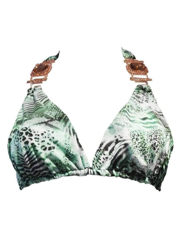 Waterproof Swarovski Crystal Green Tiger Luxury Bikini Halter Top - My Bikini Flex