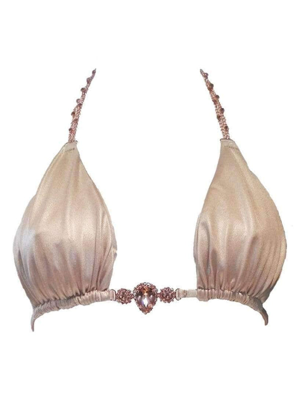 Waterproof Swarovski Crystal Luxury Beige Triangle Bikini Top - My Bikini Flex