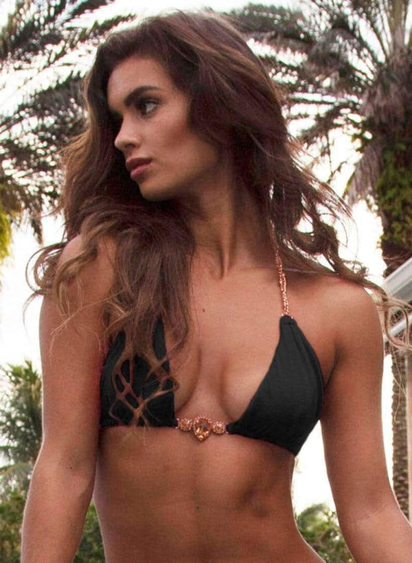 Waterproof Swarovski Crystal Luxury Black Triangle Bikini Top - My Bikini Flex