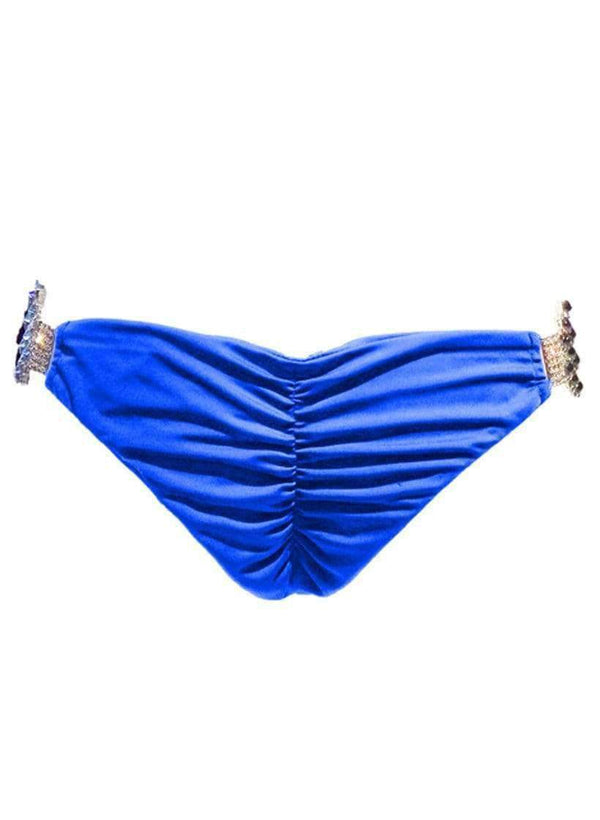 Waterproof Swarovski Crystal Luxury Blue Cheeky Bikini Bottom - My Bikini Flex