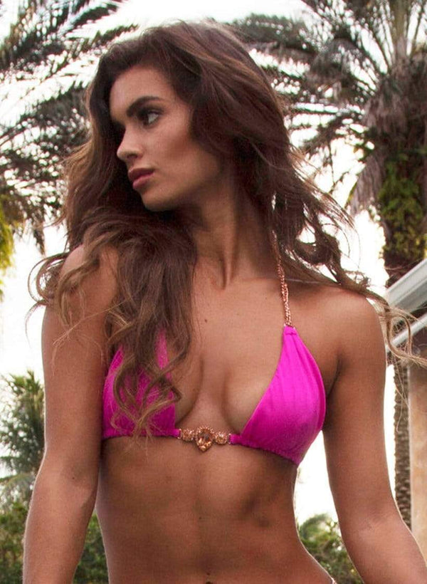 Waterproof Swarovski Crystal Rose Gold Luxury Neon Pink Triangle Bikini Top - My Bikini Flex