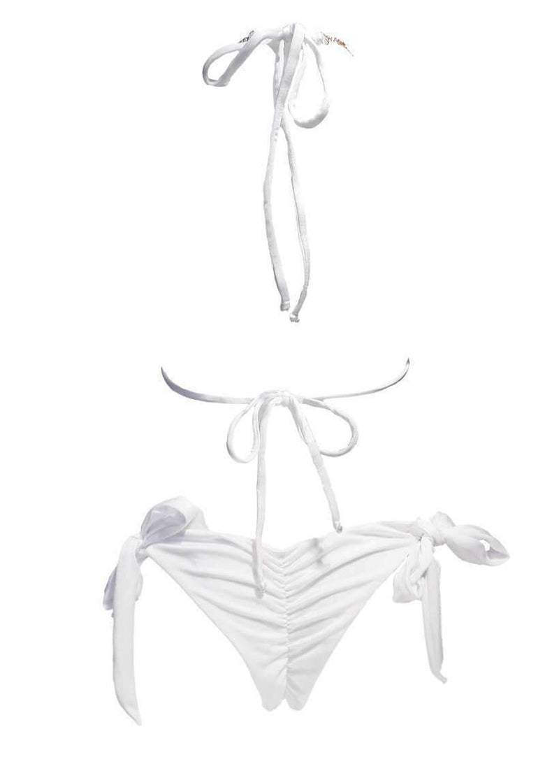 White Luxury Swimsuit Halter Square Tie Side Bikini Bottom - My Bikini Flex