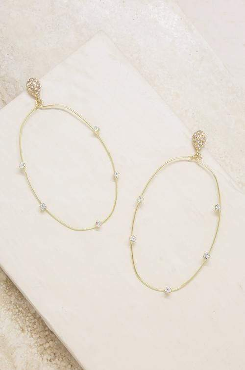 Delicate Gold & Crystal Large Oval Hoop Earrings - My Bikini Flex