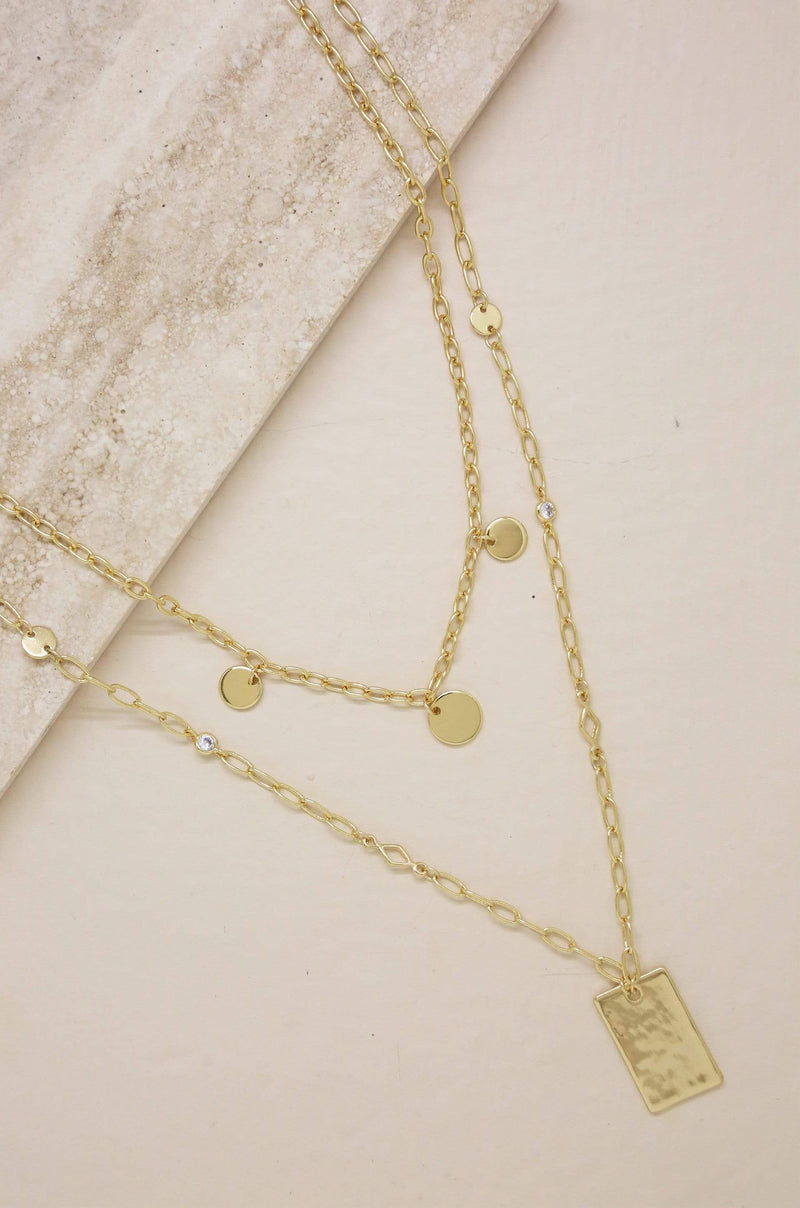 Delicate Layers Disc & Square Plate Charm Necklace - My Bikini Flex