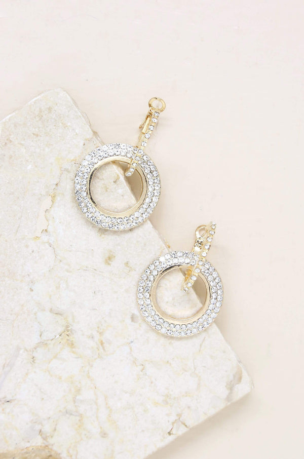 Double Drop Crystal Hoop Earrings - My Bikini Flex