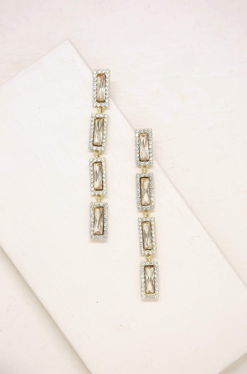 Drop Gem Earrings in Topaz Glass and Gold - My Bikini Flex