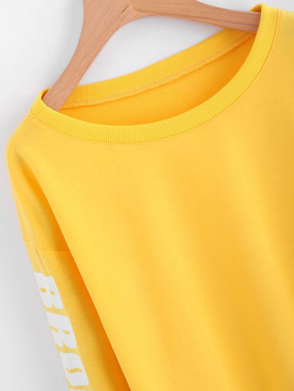 Drop Shoulder Letter Print Yellow Crop Sweatshirt - My Bikini Flex