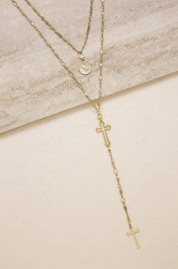 Elevated Layers Cross Lariat Necklace - My Bikini Flex