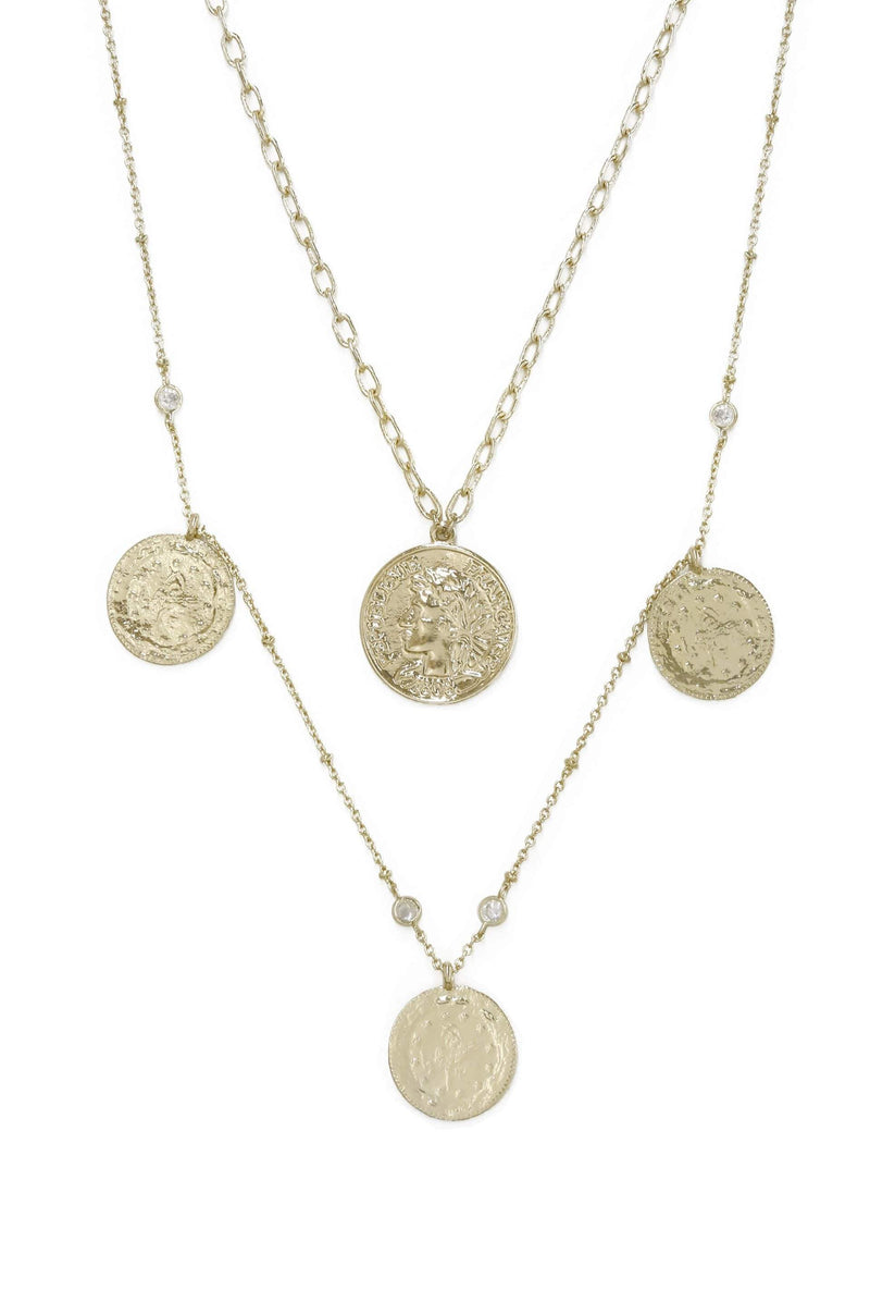 Elite Coin & Crystal Layered Gold Plated Necklace - My Bikini Flex