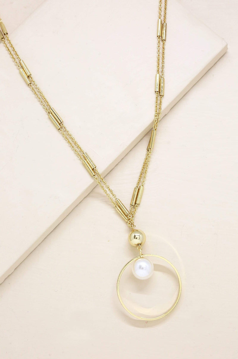 Encircled Pearl Pendant Necklace in Gold - My Bikini Flex