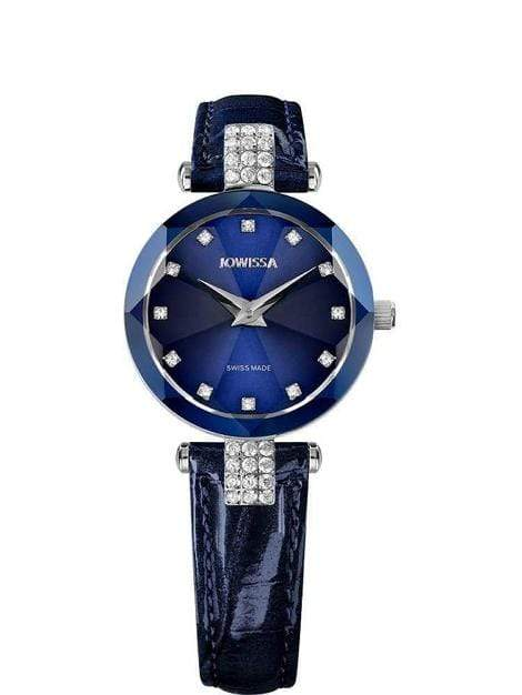 Facet Strass Swiss Crystal Ladies Leather Blue Watch J5.622.S - My Bikini Flex