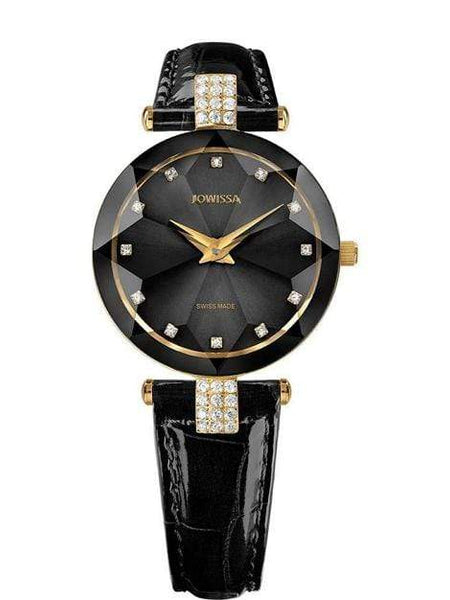 Facet Strass Swiss Ladies Black Luxury Leather Watch J5.614.M - My Bikini Flex
