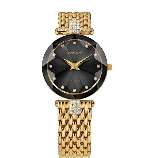 Facet Strass Swiss Ladies Gold & Black Luxury Leather Watch J5.630.M - My Bikini Flex