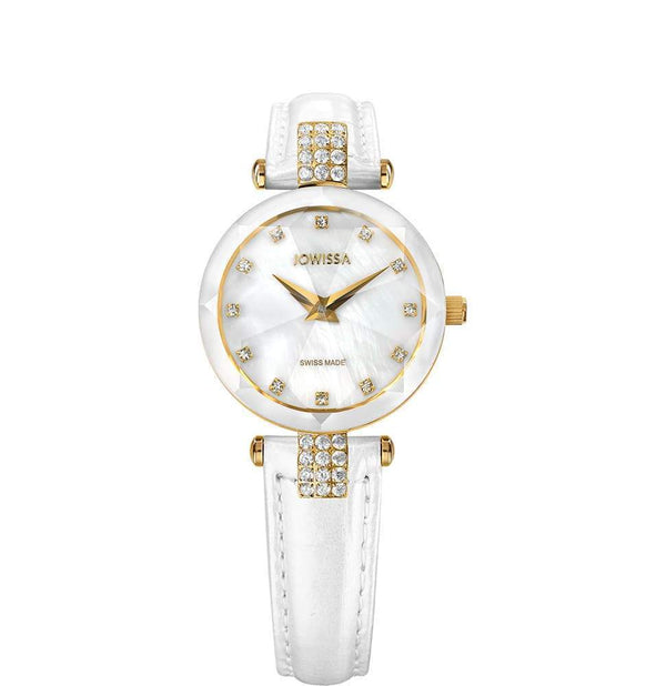 Facet Strass Swiss White & Gold Ladies Luxury Leather Watch J5.619.S - My Bikini Flex