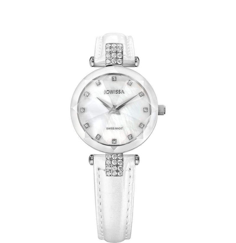 Facet Strass Swiss White & Silver Ladies Luxury Leather Watch J5.619.S - My Bikini Flex