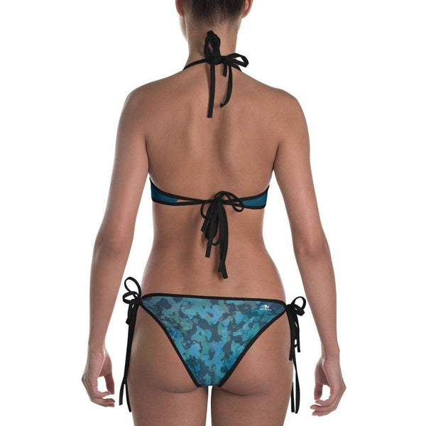 Reversible Aqua Blue Swimsuit Halter Tie Side Camo Bikini Bottom - My Bikini Flex