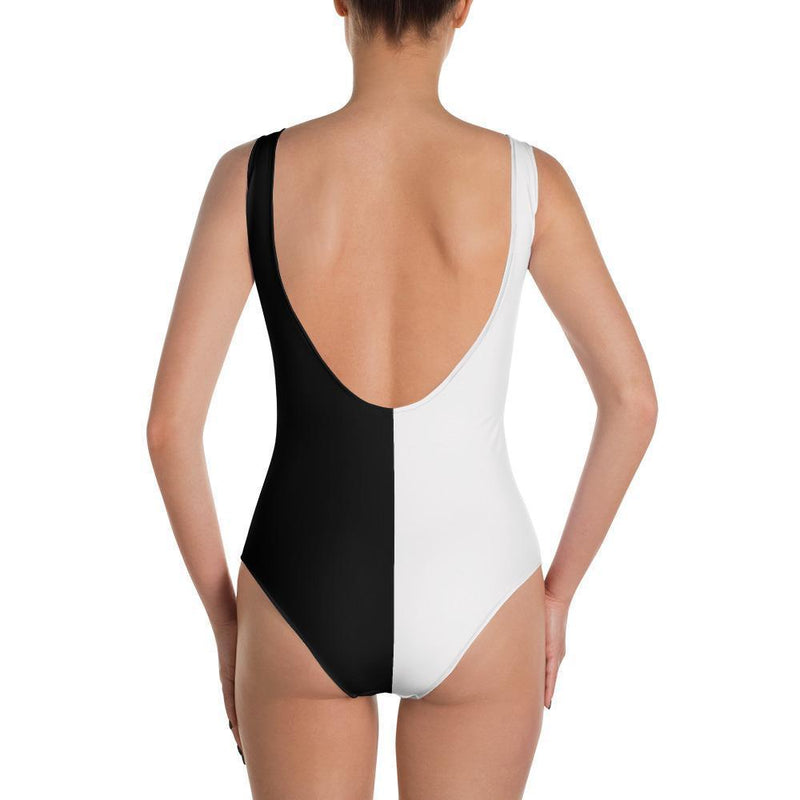 Black & White Monokini One Piece Swimsuit Eagle Print Cheeky Bikini - My Bikini Flex