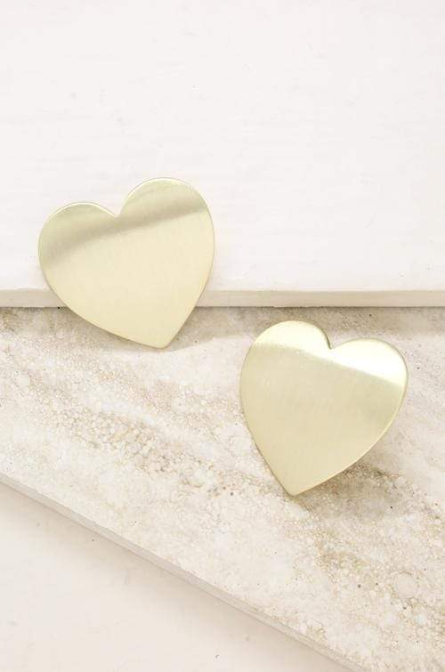 Flat Heart Statement Stud Earrings in Gold - My Bikini Flex