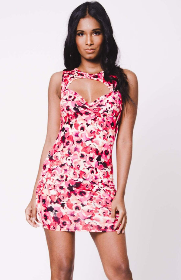 Floral Print Sleeveless Cutout Black MIni Dress - My Bikini Flex