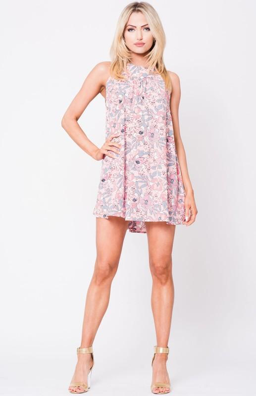 Floral Print Sleeveless Halter Shift Pink Mini Dress - My Bikini Flex