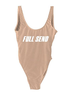 "Nude Monokini Letter ""Full Send"" One Piece Bikini Swimsuit - My Bikini Flex"