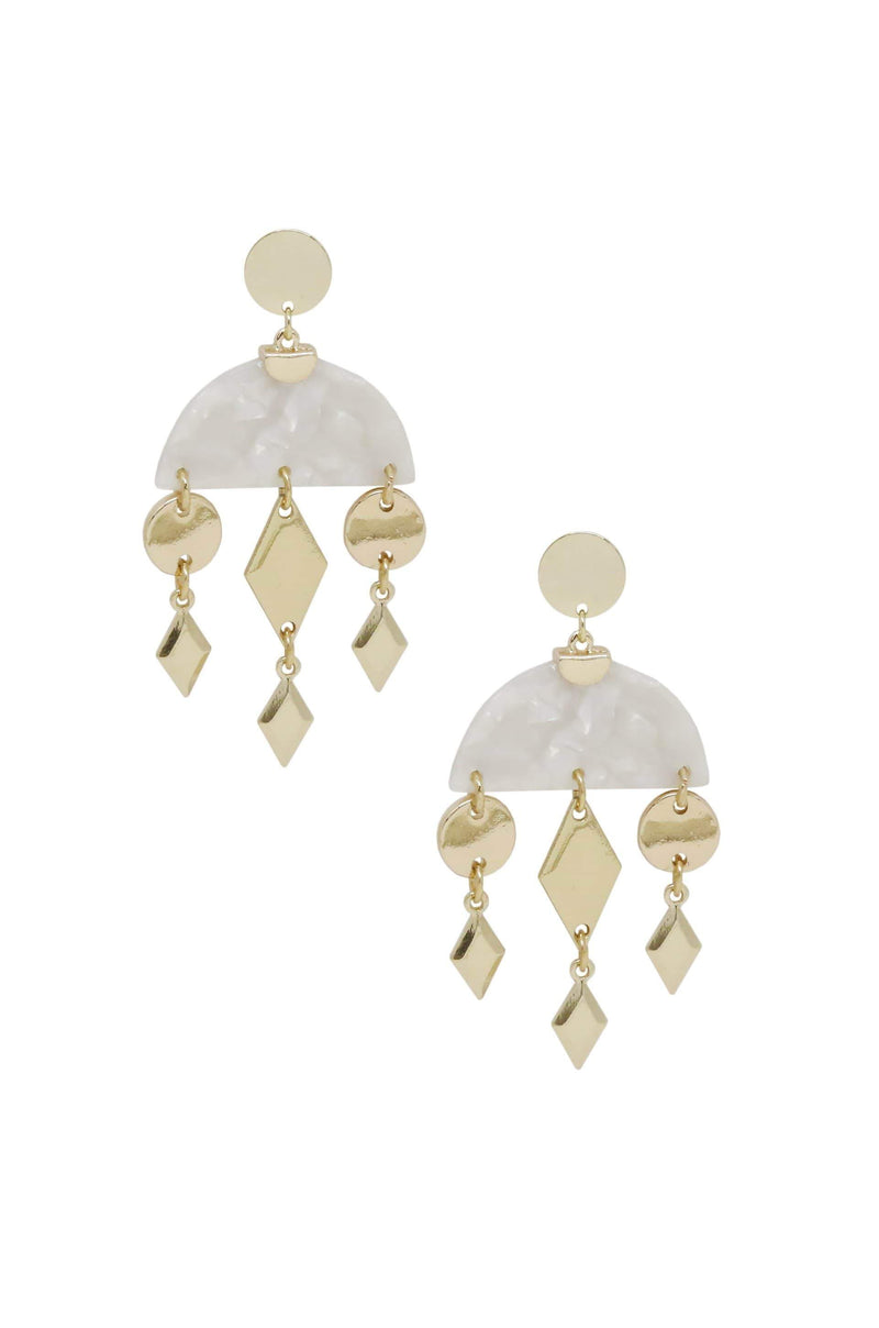 Geometric Gold & Resin Dangle Earrings in White - My Bikini Flex