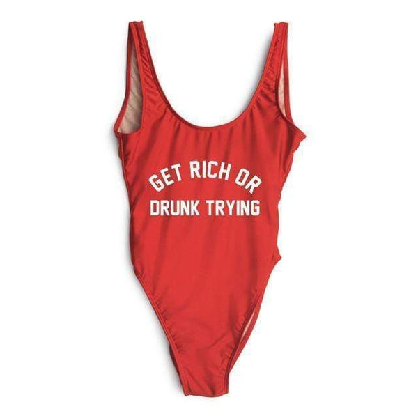 Monokini Letter Get Rich or Drunk Trying Red One Piece Bikini Swimsuit - My Bikini Flex