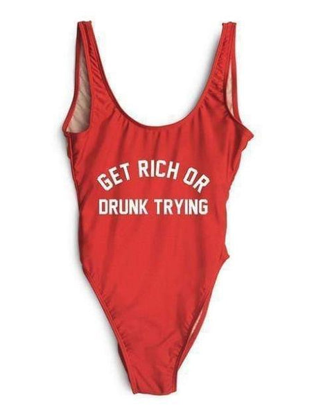 """Get Rich or Drunk Trying"" Red One Piece Bikini Swimsuit - My Bikini Flex"