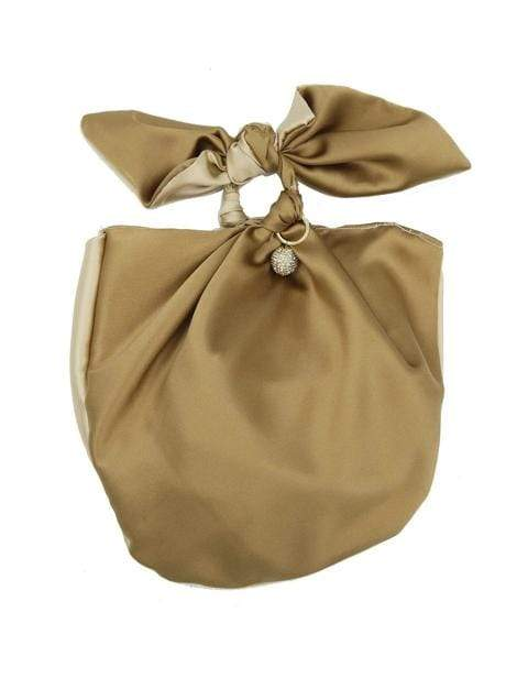 Gold Bow Clutch Bag in Tan and Brown - My Bikini Flex