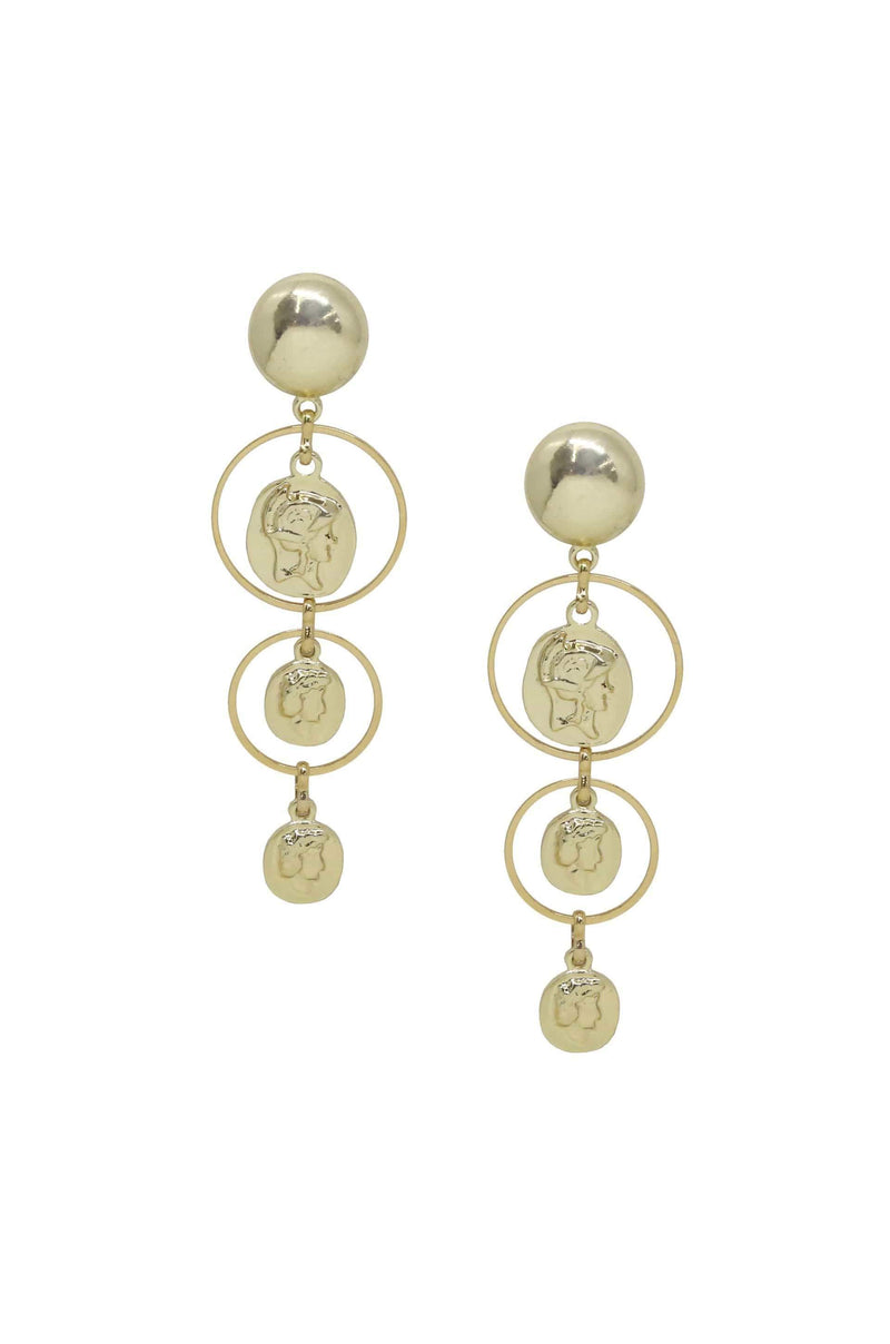 Gold Coins in Orbit Dangle Earrings - My Bikini Flex