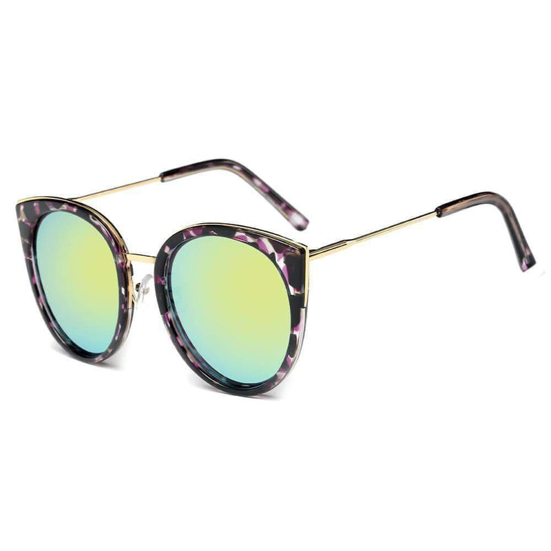 Women's Iconic Mirrored Lens Gold Cat Eye Sunglasses - My Bikini Flex