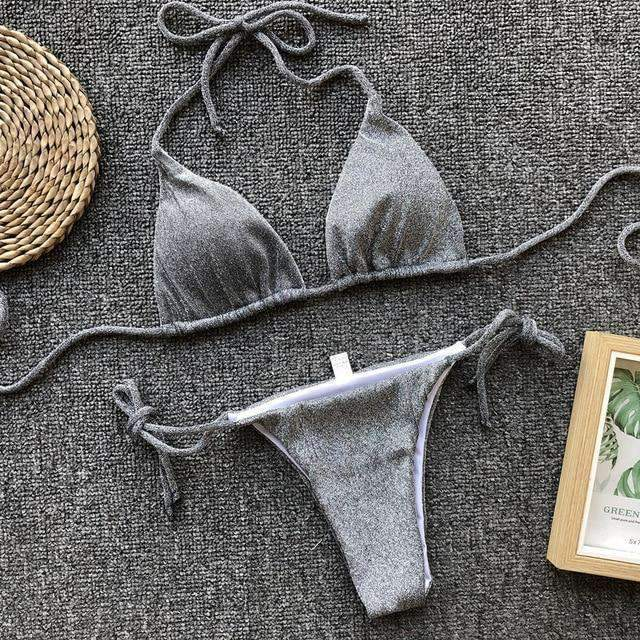 Grey Solid Sexy Lace Up Bikini Swimsuit - My Bikini Flex