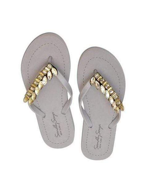 Grey Handmade Flat Sandal With Gold Motif Flip Flop Shoe - My Bikini Flex