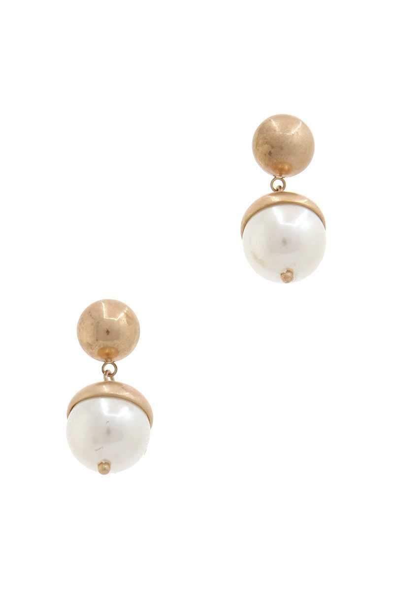 Half Pearl Half Metal Drop Earring - My Bikini Flex