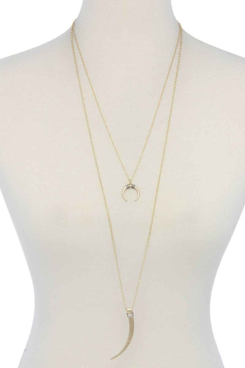 Hammered Tooth Pendant Multi Layered Necklace - My Bikini Flex