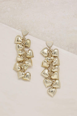 Heart Cluster Drop Earrings in Gold - My Bikini Flex