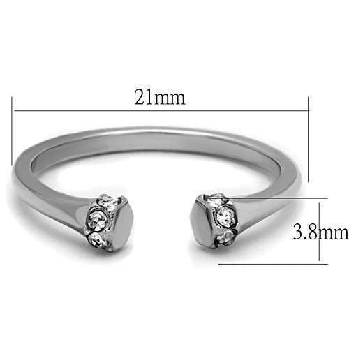 High Polished Stainless Steel Ring With Top Grade Crystal in Clear - My Bikini Flex