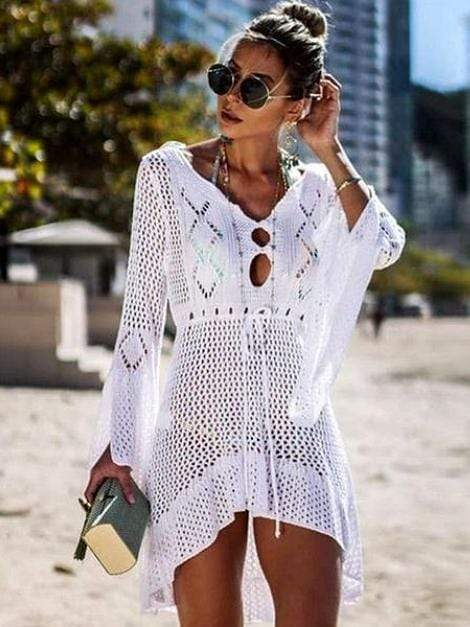 Hollow Out Patterned Knitted Bikini Cover Up - My Bikini Flex